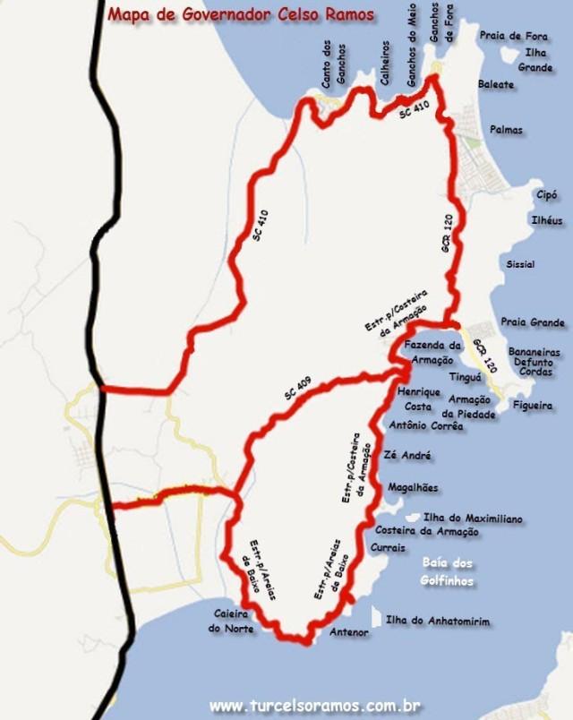 Mapa das Praias de Governador Celso Ramos